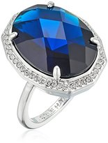 Cole Haan Rhodium/Navy Large Oval Faceted Bezel Ring, Size 8