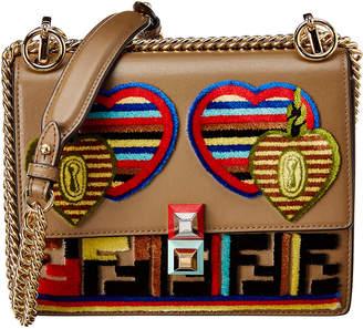 Fendi Applique Small Kan I Velvet & Leather Shoulder Bag