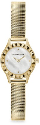 BCBGMAXAZRIA Classic Mother-Of-Pearl Goldtone Stainless Steel Mesh Bracelet Watch