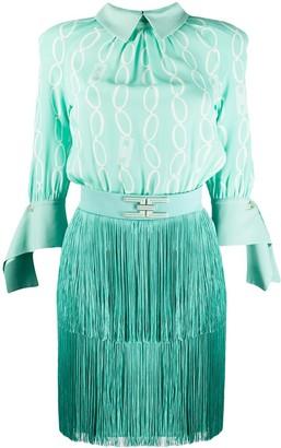 Elisabetta Franchi Chain-Print Fringed Dress