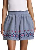 Anna Sui Women's Floral Embroidery Chambray Skirt