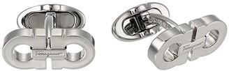 Salvatore Ferragamo Double Gancini Cuff Links (Silver) Cuff Links