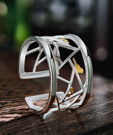 Lotus Fun Women's Rings Silver - Sterling Silver & Goldtone Birds on Branches Adjustable Ring