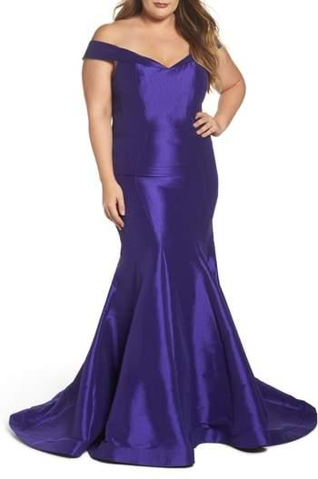Mac Duggal Off the Shoulder Mermaid Gown
