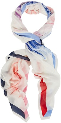 Alexander McQueen Rainbow Moth Silk-Cotton Scarf
