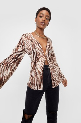 Nasty Gal Womens We're Your Wild Card Zebra Open Front Blouse - Brown - 12