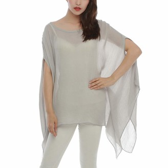 Max Hsuan Summer Womens Ladies Solid Cotton Loose Batwing Lagenlook Kimono Top Shirt Tunic Plus Sizes UK 16-24 Light Grey