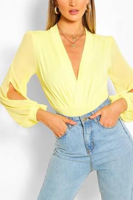 boohoo Wrap Chiffon Sleeve Bodysuit