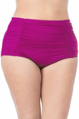 La Blanca Women's Plus Size Island Goddess High Waist Rouched Bikini Swimsuit Bottom