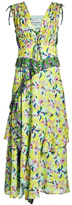 Tanya Taylor Angie Abstract Print Pleated Midi Dress