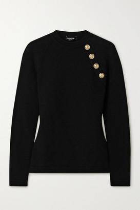 Balmain Button-embellished Jacquard-knit Sweater - Black