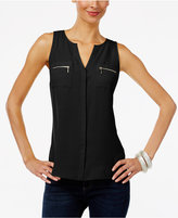INC International Concepts Split-Neck Zip-Pocket Top, Only at Macy's