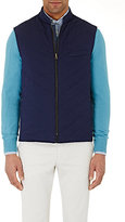 Luciano Barbera Men's Reversible Channel-Quilted Vest-NAVY