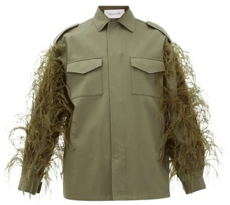 Valentino Feathered Cotton-gabardine Utility Jacket - Womens - Dark Green