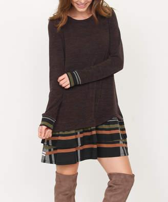 Egs By Eloges egs by eloges Women's Sweater Dresses Black - Brown Plaid Ruffle-Hem Sweater Dress - Women & Plus