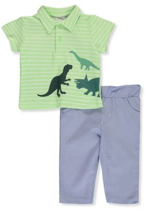 Quiltex Baby Boy Collared Shirt and Pant Outfit Set, 2pc