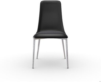 Calligaris Etoile Leather Upholstered Metal Side Chair Color: Chromed