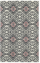 Tribeca Flatweave Black Motif Wool Rug (2' x 3')