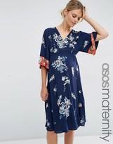 Asos Kimono Wrap Midi Dress with Floral Embroidery