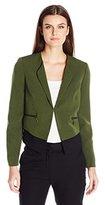Kasper Women's Cross Dye Stretch Crepe Zipper Detail Jacket
