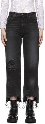 R 13 Black Cropped High-Rise Camille Jeans