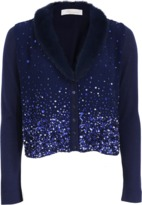 Blumarine Fur Trim Sequin Cardigan