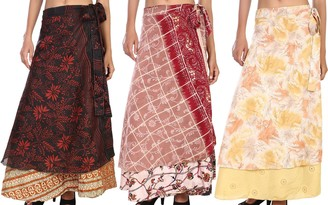 Stylo Culture Indian Women's Long Wrap Skirts 2 Layered Cover-Ups Swimwear Beach Wrap Skirt Wholesale Lot Art Silk Magic Wrap Womens Printed Wrap Maxi Skirt 3 Pc Lot