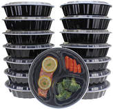 Freshware Round Three-Section Bento Food Container - Set of 15