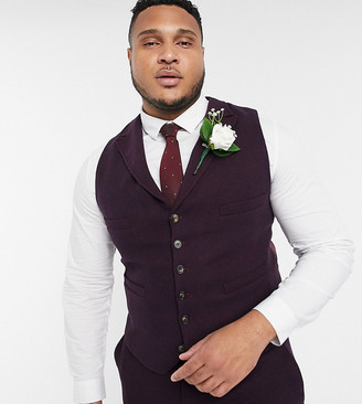 ASOS DESIGN Plus wedding super skinny suit suit vest in wool mix twill in burgundy