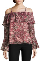 BY AND BY by&by Long Sleeve Boat Neck Chiffon Blouse-Juniors