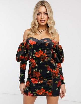 Asos DESIGN off shoulder floral bonded velvet mini dress