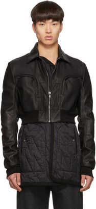 Rick Owens Black Leather Babel Liner Jacket