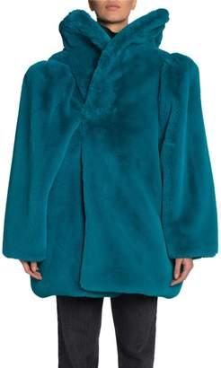 Balenciaga Oversized Drop-Neck Faux-Fur Coat