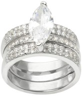 Journee Collection 3 7/8 CT. T.W. Marquise Cut CZ Basket Set Interlocking Bands Ring in Sterling Silver - Silver