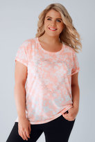 Yours Clothing Coral & White Floral Textured Jersey T-Shirt With Stud Heart Detail