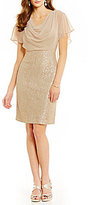 Jessica Howard Metallic Lace Drape-Neck Sheath Dress
