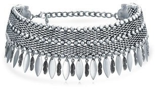 Bling Jewelry Native American Feather Wide Choker Silver Tone Necklace