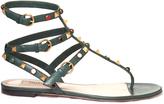 Valentino Rockstud Rolling leather flat sandals