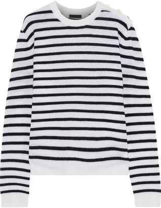ATM Anthony Thomas Melillo Button-embellished Striped Cashmere Sweater