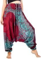 Lofbaz Women's Peacock Smocked Waist 2 in 1 Harem Pants Jumpsuit Black L