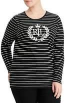 Lauren Ralph Lauren Plus Stripe Logo-Print Tee