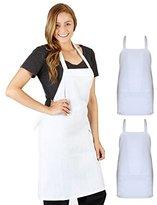 Professional Bib Aprons, Durable 100% Spun Poly, Commercial Restaurant, Kitchen Apron, set of 2, (White)