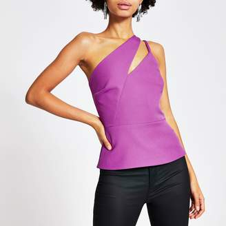 River Island Womens Purple one cut out shoulder fitted top