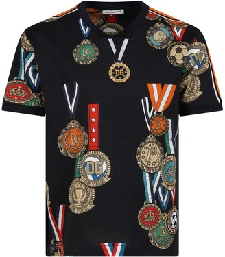 Dolce & Gabbana Blue T-shirt For Boy With Medals