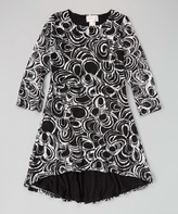 Dimples Black Swirl Hi-Low Lace Dress - Girls
