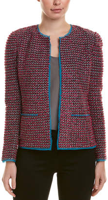 St. John Wool-Blend Silk-Trim Jacket