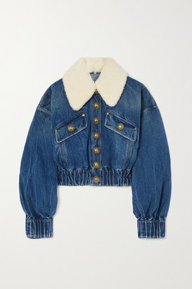Balmain - Faux Shearling-trimmed Denim Jacket - Mid denim