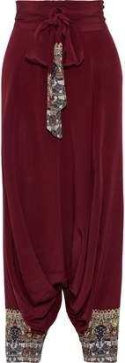 Camilla Warrior Embellished Silk Crepe De Chine Wide-leg Pants