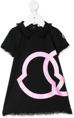 Moncler Enfant Ruffle Detail Logo Print Dress