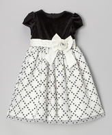 Jayne Copeland Black & White Glitter Diamond Cap-Sleeve Dress - Toddler & Girls